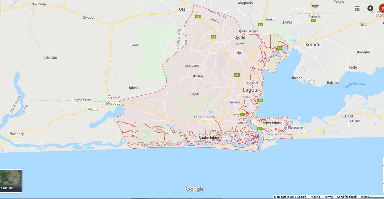 Map of Lagos city: postcode.com.ng